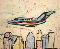 Färgrik flygplanvattenfärg Arkivfoton
