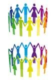 färgrik folkvektor för cirkel vektor illustrationer