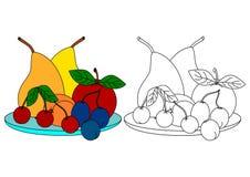 Färgrik frukt - färgläggningbok för ungar Arkivbilder