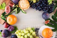 Färgrik frukt på tappning Gray Wooden Background Arkivbilder