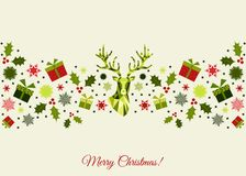 Färgrik garnering för jul med hjortar, gåvor och snöflingor vektor illustrationer