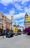 Färgrik gata i La Coruna, Spanien Arkivbilder