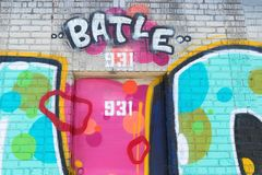 Färgrik gatakonst på byggnad i i stadens centrum Los Angeles Royaltyfri Fotografi