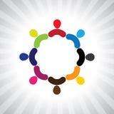 Färgrik gemenskap av folk som ett enkelt vektordiagram för cirkel vektor illustrationer