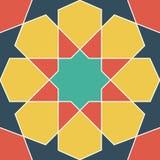 Färgrik geometrisk modell i arabisk stil dekorativ elementtappning bakgrund tecknad hand Royaltyfri Bild