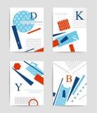 Färgrik geometrisk och typografimalluppsättning Fotografering för Bildbyråer