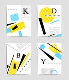 Färgrik geometrisk och typografimalluppsättning Royaltyfri Bild