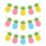 Färgrik girland för tropisk frukt för ananas vektor illustrationer