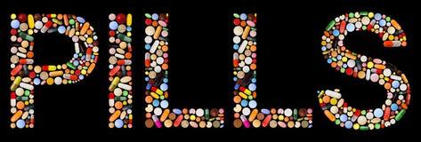färgrik gjord läkarbehandlingpillsskrift Arkivbild