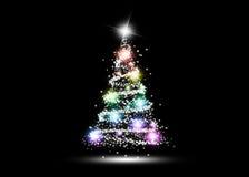Färgrik glödande julgran Arkivbild