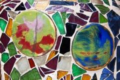 Färgrik glass fragmentmosaik, vägggarnering, abstrakt konst de Royaltyfria Bilder