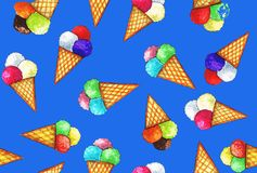 Färgrik glass i ljus - bruna rånhorn royaltyfri illustrationer
