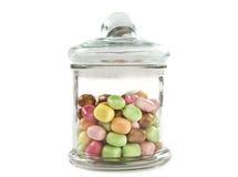färgrik glass jar för candys Royaltyfri Fotografi
