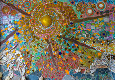 Färgrik glass mosaikkonst, abstrakt väggbakgrund Royaltyfria Bilder