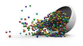 Färgrik godis som faller i illustration för glass platta 3D Royaltyfri Bild