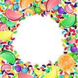 Färgrik godisbakgrund med gelébönor och gelégodisar Royaltyfri Fotografi
