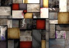 Färgrik grunge texturerade träprintingkvarter packad stramt t Arkivfoton