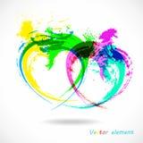 färgrik grungehjärta Effekt för färgstänkabstrakt begreppborste vektor royaltyfri foto