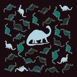 Färgrik grupp av dinosaurier Fotografering för Bildbyråer