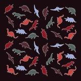 Färgrik grupp av dinosaurier, dinosauriekonturer Arkivfoto