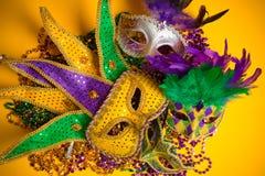 Färgrik grupp av Mardi Gras eller venetian maskeringar  royaltyfria foton