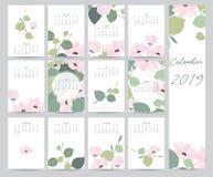 Färgrik gullig månatlig kalender 2019 med bladet, blomma kan användas royaltyfri illustrationer