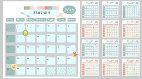 Färgrik gullig månatlig kalender 2018 med ekorren, and, ren, stock illustrationer