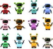 Färgrik gullig robotuppsättning royaltyfri illustrationer