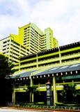 Färgrik höjdpunkt - täthethuskvarter i Singapore Arkivfoton