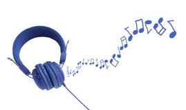 Färgrik hörlurar och anmärkningar arkivbilder