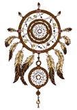 Färgrik hand dragen dreamcatcher med fjädrar stock illustrationer