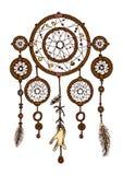 Färgrik hand dragen dreamcatcher med fjädrar vektor illustrationer