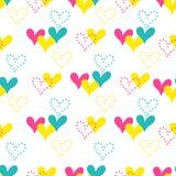 Färgrik hand dragen sömlös vektormodell för hjärtor royaltyfri illustrationer