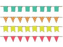 Färgrik hand drog klotterbuntingbaner för garnering Tecknad filmbaneruppsättningen, bunting flaggor, gräns skissar dekorativa ele Arkivbild