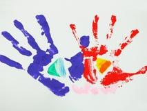 färgrik handprint Fotografering för Bildbyråer