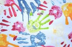 färgrik handprint Arkivfoton