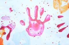 färgrik handprint Royaltyfri Bild