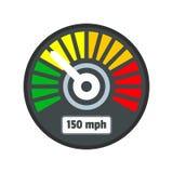 Färgrik hastighetsmätaresymbol, lägenhetstil royaltyfri illustrationer