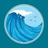 Färgrik havvåg med seagulls med den runda ramen vektor illustrationer