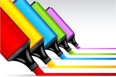 färgrik highlighterpenna stock illustrationer