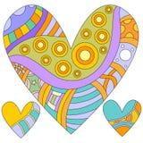 färgrik hjärta för samling royaltyfri illustrationer