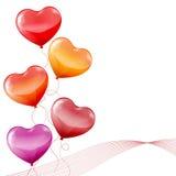 Färgrik hjärta formade ballonger Stock Illustrationer