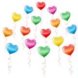 Färgrik hjärta formade ballonger Royaltyfri Illustrationer
