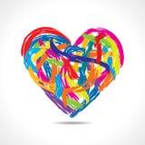 Färgrik hjärta med målarfärgslaglängder Royaltyfri Fotografi