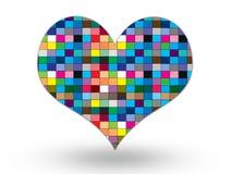 Färgrik hjärta på vitbakgrund Arkivbilder