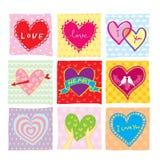 Färgrik hjärtauppsättning Royaltyfria Bilder