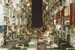 Färgrik hyreshus i villebrådfjärden, Hong Kong Arkivbilder