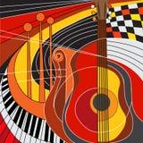 Färgrik illustration av musikinstrument royaltyfri illustrationer