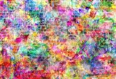 Färgrik illustration för grungekonstvägg, stads- konsttapet, bakgrund Arkivfoto