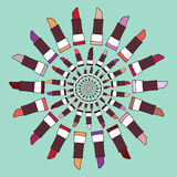 Färgrik illustration för läppstiftetikettvektor Arkivfoto